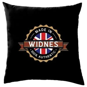 Made-In-WIDNES-Cushion-16-034-City-Town-Chef-Gift-8-Colours