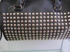 Black Faux Leather Rebecca Rifka Satchel Handbag Purse