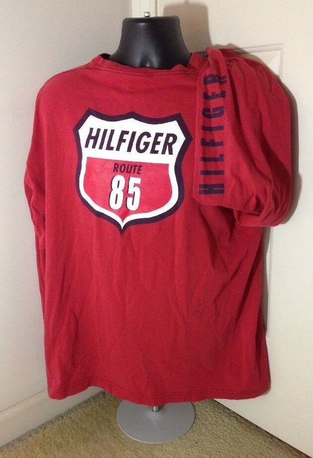 VTG 90s Made in USA Spell Out Tommy Hilfiger Route 85 Long Sleeve Shirt Large L