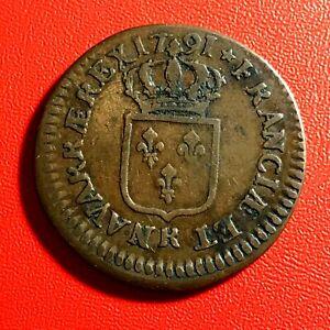 1538-RARE-Louis-XVI-Sol-1791-R-Orleans-cassure-de-coin-sur-le-R-FACTURE