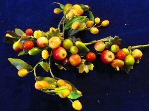 Vtg-Millinery-Flower-Collection-Red-Green-Yellow-Fruit-amp-Veggie-w-Garland-H3366