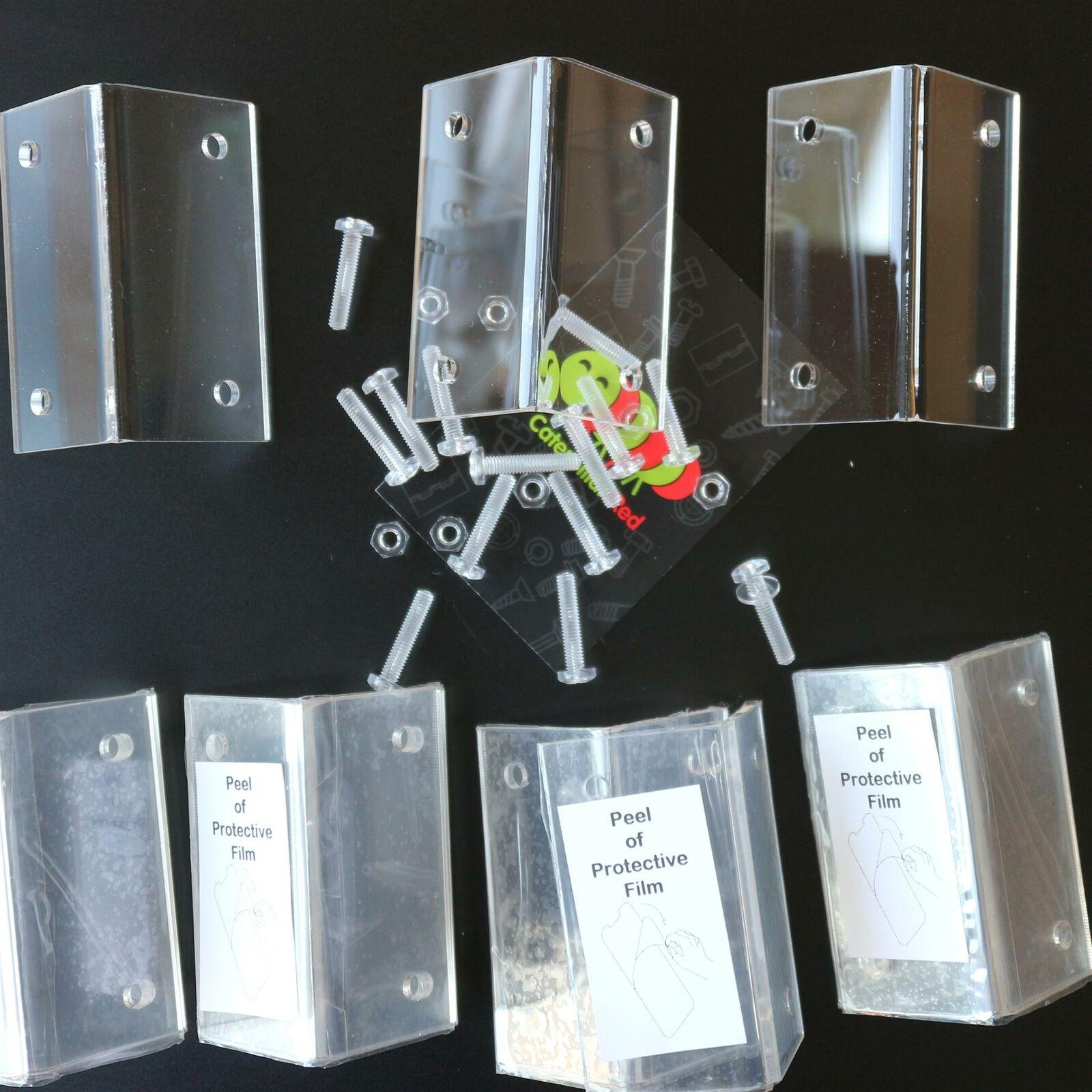 10x supports coudés en équerre, transparents, acrylique + boulons, à angle droit