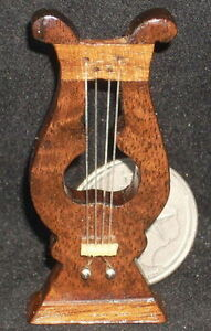 Dollhouse-Miniature-Mexican-Wooden-Lyre-1-12-Music-Musical-Instrument-WI-1702