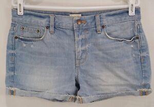 J-Crew-Womens-Size-27-3-034-Cuffed-Denim-Jean-Shorts-Cotton-Distressed-F1910-Blue