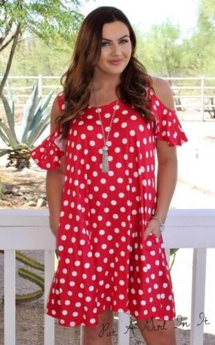 pois abito rosso Mini a 2x da 1x arricciature taschino Size spalla a Usa Plus 3x con 8dHTqd