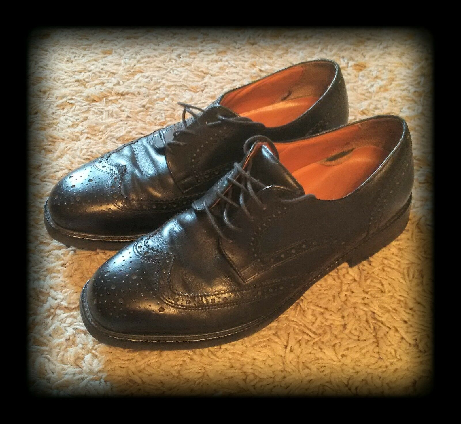 ROCKPORT Black Leather Lace up Wing Tip new shoes shoes Mens size 9.5 EUC
