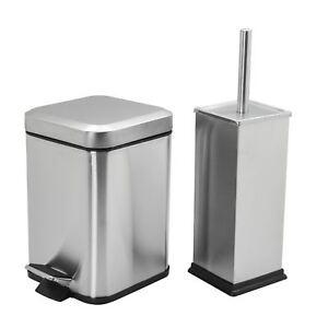 /& Toilet Brush Holder Set 3L Bathroom Pedal Rubbish Waste Bin White Steel