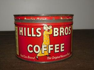 "VINTAGE KITCHEN 3 1/2"" HIGH HILLS BROS COFFEE TIN CAN *EMPTY"