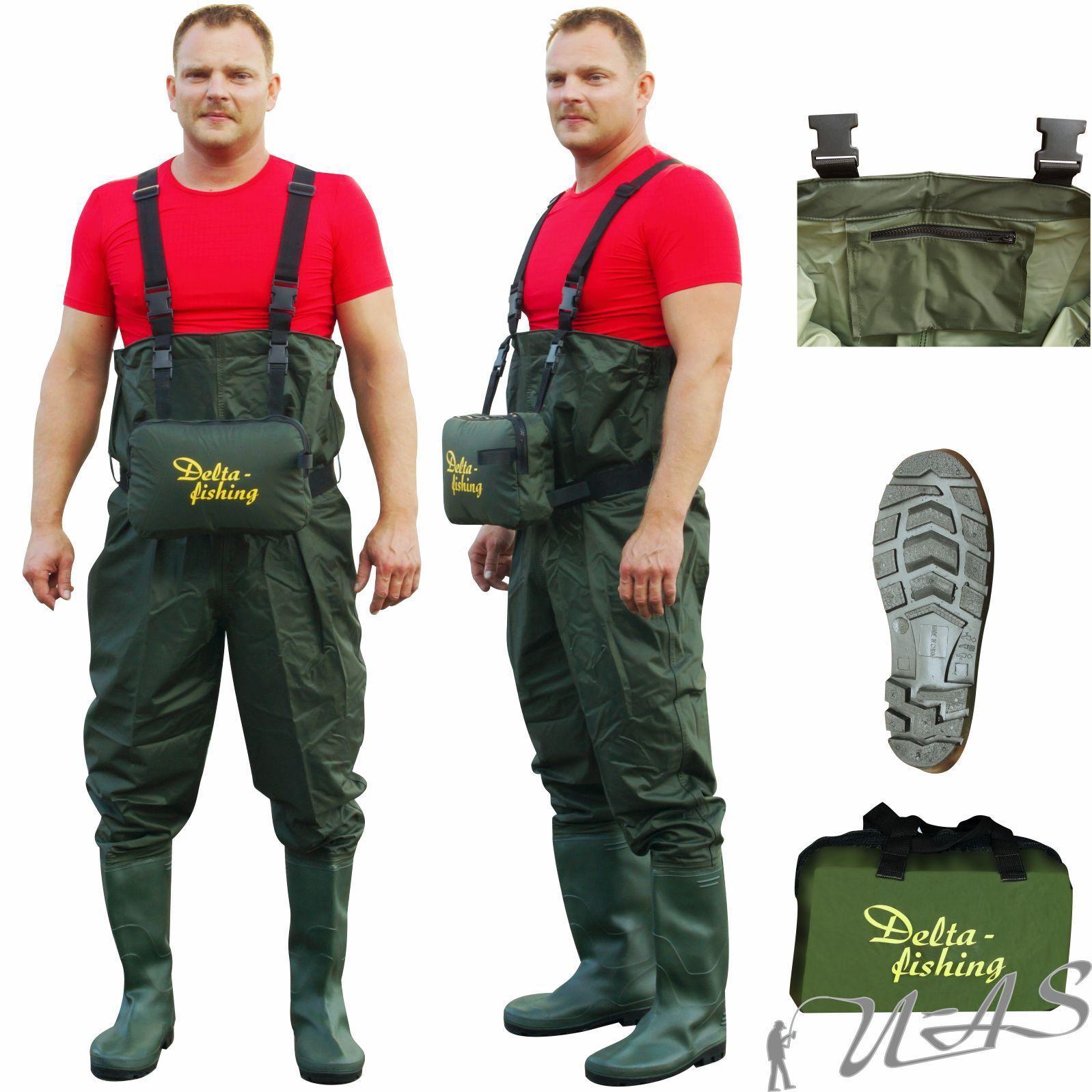 DELTA pesca IN NYLON PVC IMPERMEABILI TG 41 PESCATORE Pantaloni Angel Pantaloni stagno Pantaloni Borsa RBA