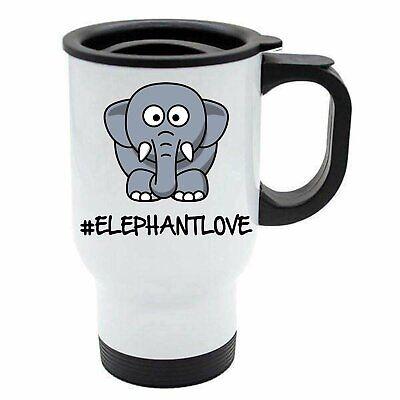 Appena Elefante - Hashtag Animal Love - Bianco Riutilizzabile Tazza Da Viaggio - Carino Grande Assortimento