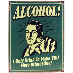 Bar Wall Decor alcohol tin sign - metal beer drinking bar pub man cave wall art