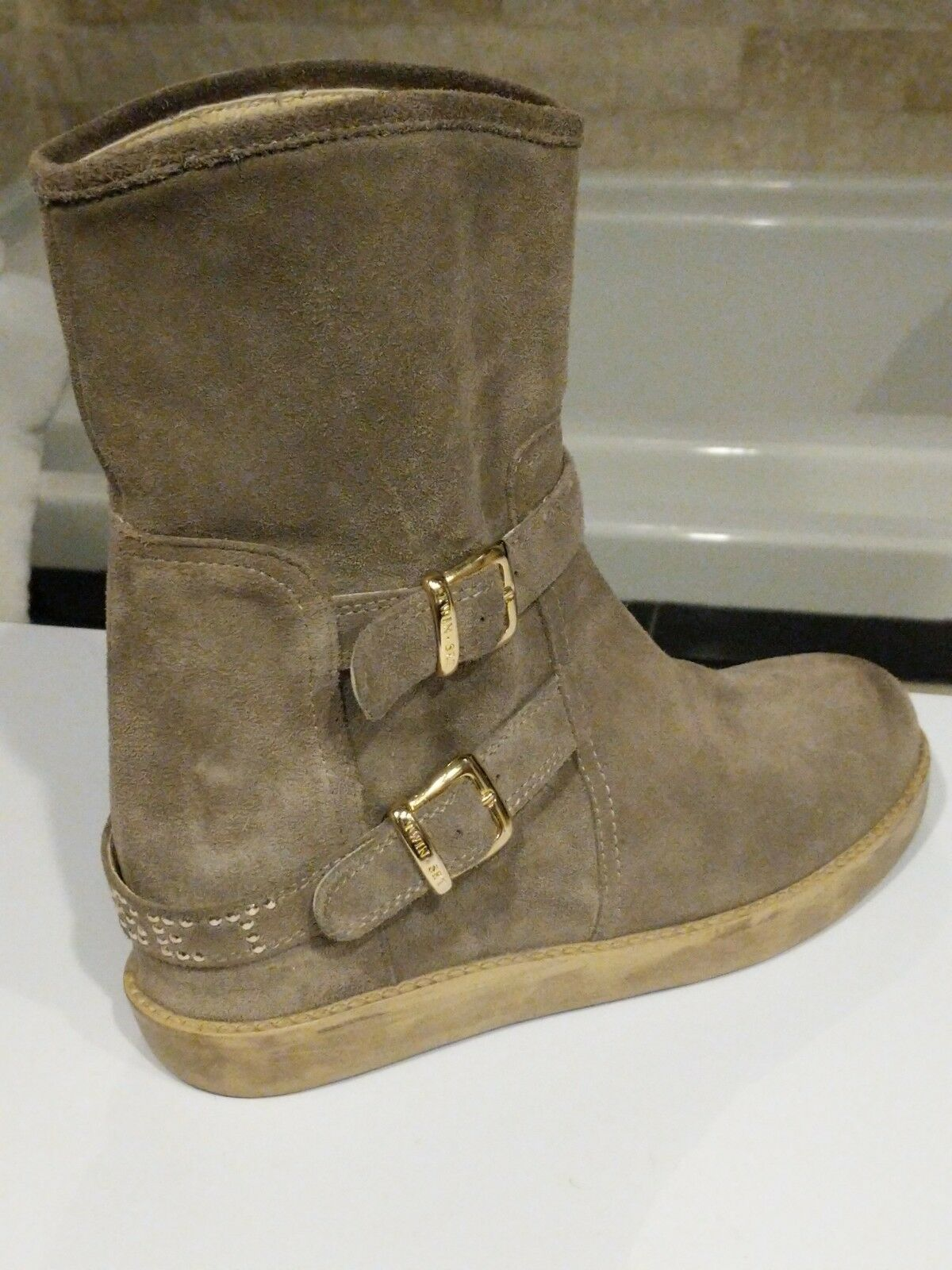 Twin-Set By Simona Barbieri Sz 39 Hidden Patform Suede Ankle botas Made In