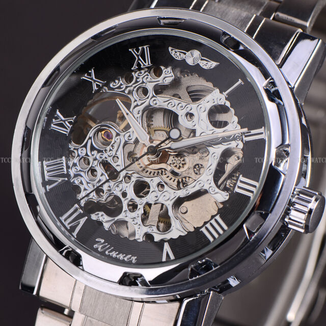TCC WINNER Mens Boys Analogue Skeleton Transparent Steampunk Mechanical Watch