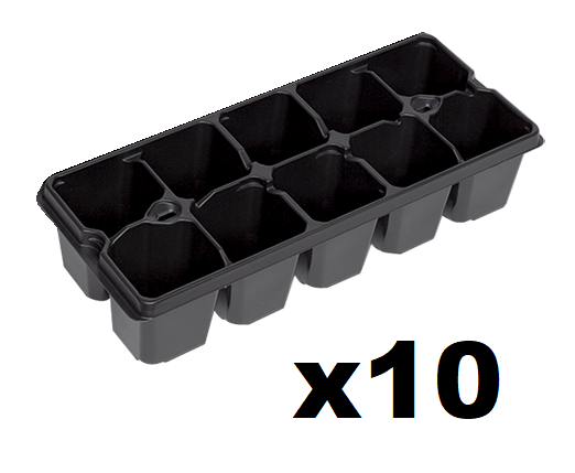 10 Cell Seed Trays(2x5 Cell) Pack of 10 , 6cm cells