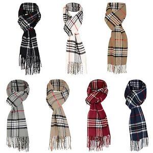 Unisex Tartan Print Scarf Wool Blend Fringing Wrap Long Scarve Cosy Fashion Gift