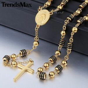 Gold Silver Chain Necklace Cross Stainless Steel Pendant Rosary Jesus 4mm Beads