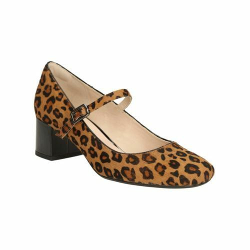 NEW CLARKS CHINABERRY POP LEOPARD PRINT LEATHER SHOE UK SIZE 4D