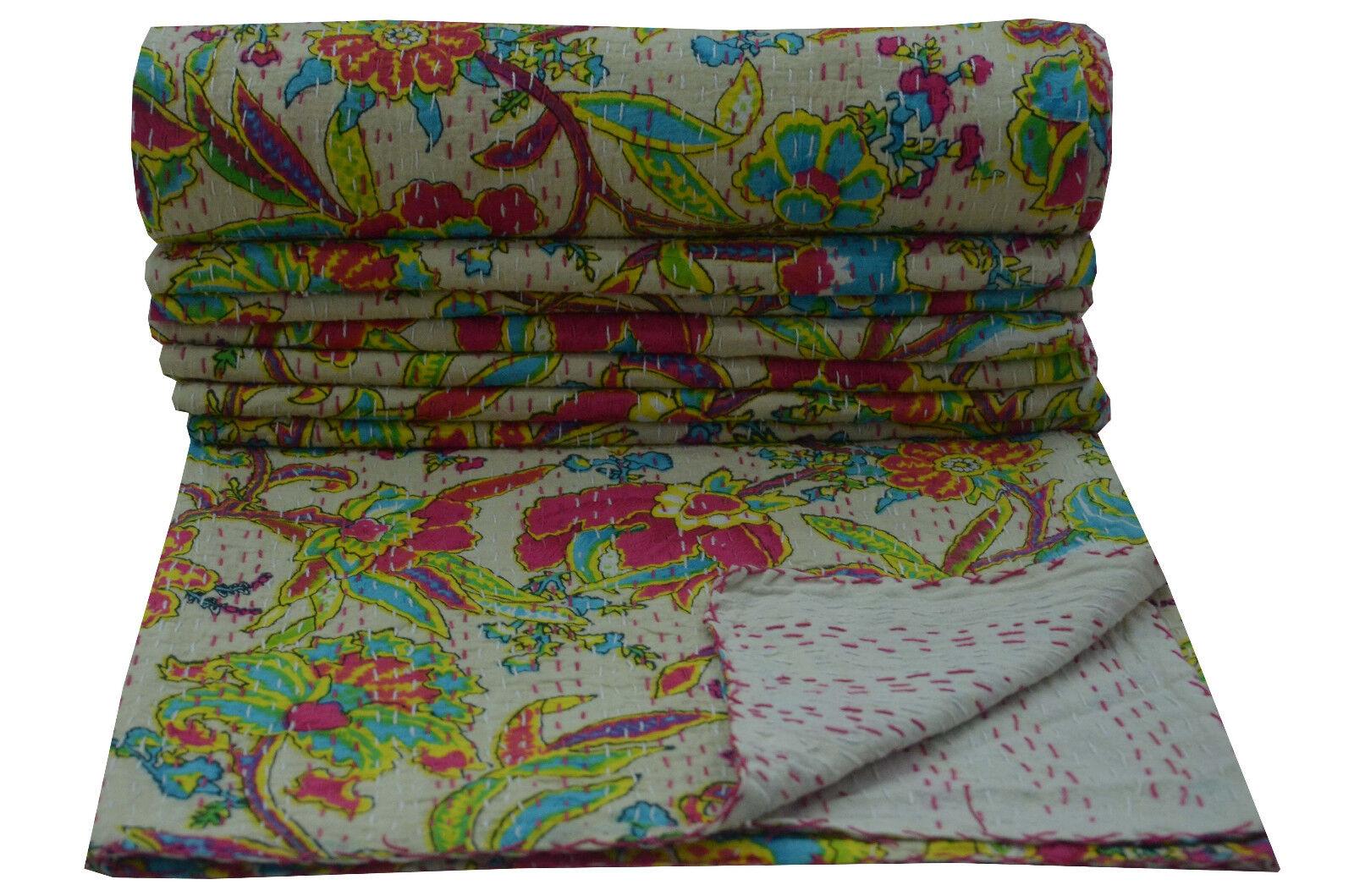 Indian Twin Kantha Quilt Beautiful Weiß Bedspread Blanket Cotton Bedding Throw