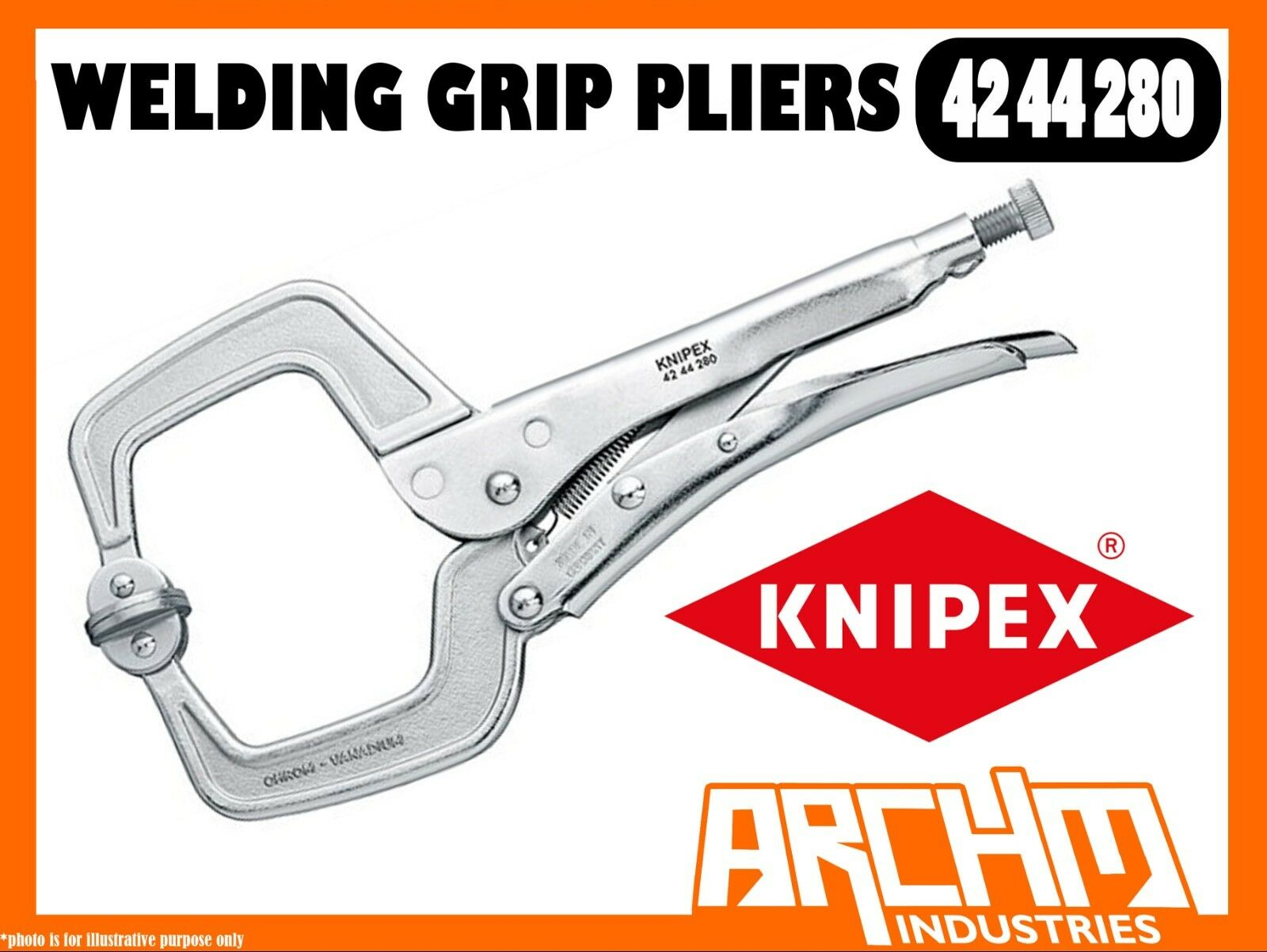 KNIPEX 4244280 - WELDING GRIP PLIERS - 280MM HEAVY DUTY GRIPPING ADJUSTMENT