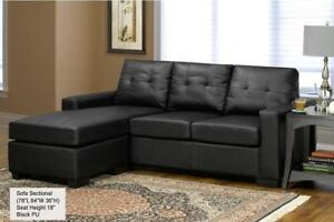 ***BLOWOUT SALE****LEATHER SECTIONAL WITH REVERSIBLE CHAISE (BLACK)**LOWEST PRICES City of Montréal Greater Montréal Preview