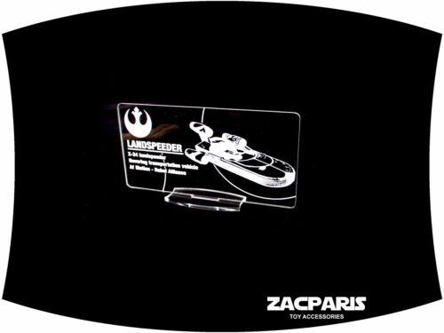 DISPLAY PLAQUE for Star Wars Land Speeder kenner POTF Models etc Clear acrylic!