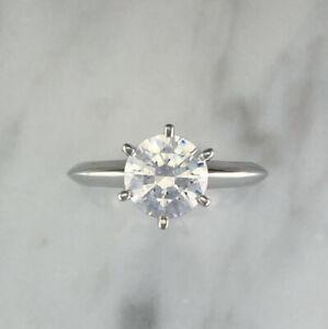 2.00 Ct Round Moissanite Wedding Ring 14K Hallmarked Solid White Gold Size 4 5 6