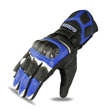 Motorbike Racing Gloves Motorcycle Goat Leather Glove Rider Kevlar Blue 1662 XL
