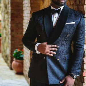 British-Style-Black-Men-039-s-Suit-Double-Breasted-Jacquard-Paisley-Wedding-Grooms