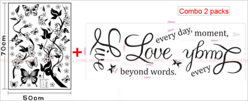 LIVE LAUGH LOVE BUTTERFLY VINE FLOWER Wall Quote Stickers Art Decal Mural Paper