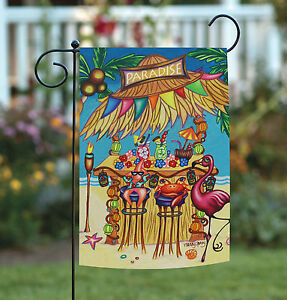 NEW Toland Tiki Beach Bar Colorful Tropical Paradise Flamingo
