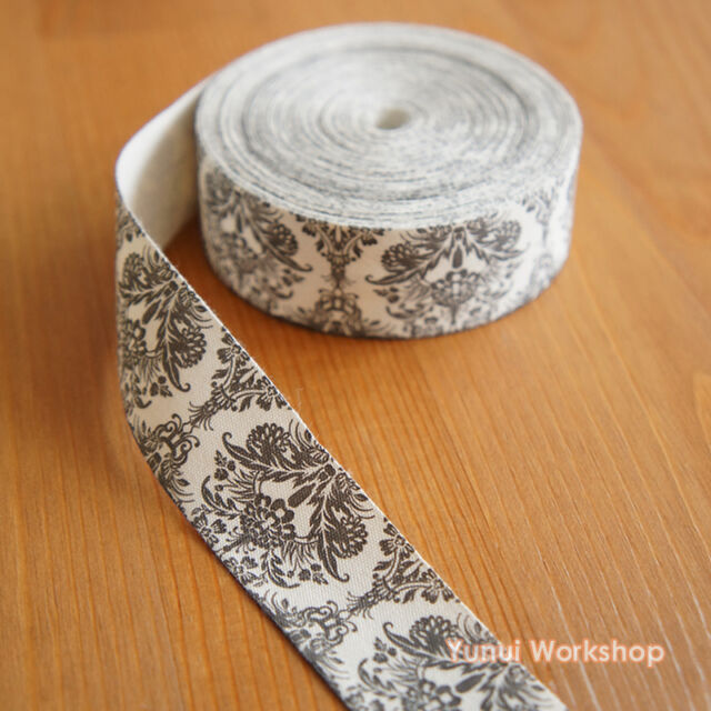 2 yards / 10 yards: Printed Fabric Ribbon Antique Victorian Pattern 25mm Black