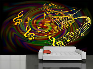 Colorful Musical Notes Wall Mural Photo Wallpaper Giant Decor Paper