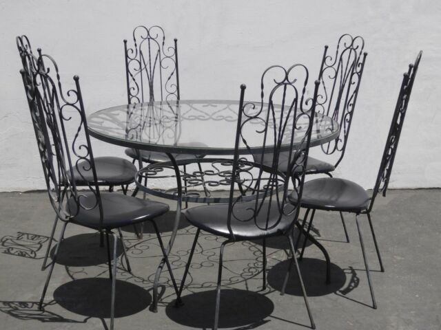 RARE Vintage Spanish Style Six Chairs Dining Table Set Metal Scrolls Mid Century