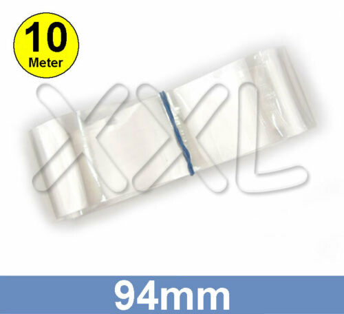 10m ENDLOSWARE 94mm flach 60mm rund PVC Schrumpfschlauch transparent