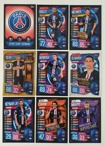 2019-20-Match-Attax-UEFA-Soccer-Cards-Paris-PSG-Team-Set-inc-3-special