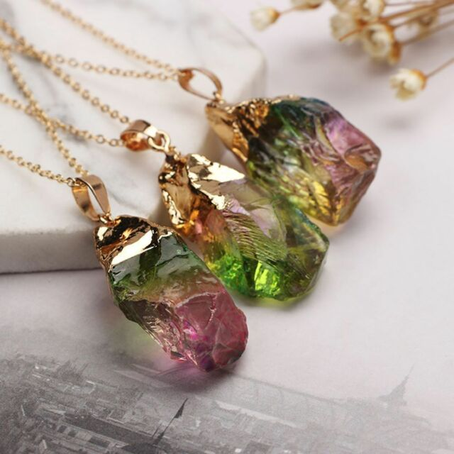 Gold Plated Natural Crystal Chakra Rock Necklace Quartz Pendant Colorful Stone
