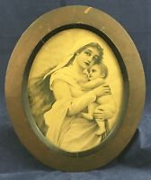 VINTAGE OVAL PICTURE FRAME MOTHER AND CHILD ORIGINAL WOOD FRAME ANTIQUE WALL ART