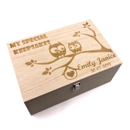 Large Wooden Personalised Owl Design Baby Memories Keepsake Box HB-23