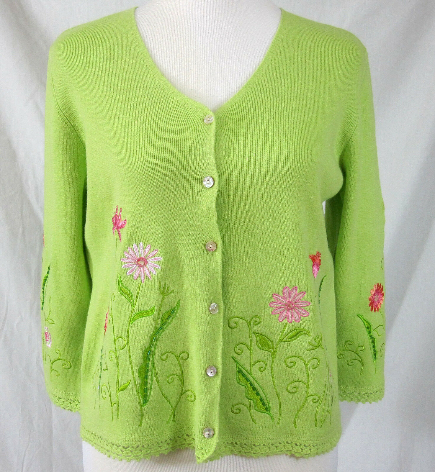 Green Sweater Cotton Petite Large Beaded Embroidered Flowers Northern Isles