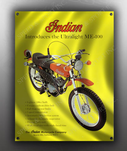 VINTAGE INDIAN ULTRALIGHT ME-100 MOTORCYCLE BANNER