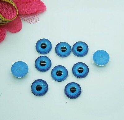 Free shipping 50Pcs(25Pairs) Plastic Doll Eyes iris 8mm, Blue Flat Doll Eyes