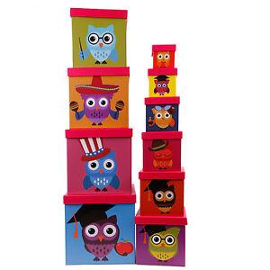 Aufbewahrungsboxen Set im lustigen Eulen Design - Kinderzimmer ...