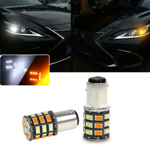 Switchback-Dual-Color-1157-2357-S25-LED-Front-Turn-Signal-Parking-DRL-Lamp-Bulbs