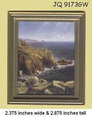 FRAMED ART Picture RUGGED SEACOAST Dollhouse Miniature 1:12 scale