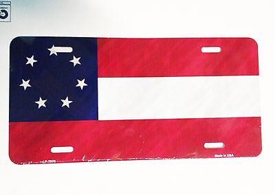"CIVIL WAR 1ST NATIONAL CONFEDERATE 7 STAR /""America First/"" /& Made License Plate"