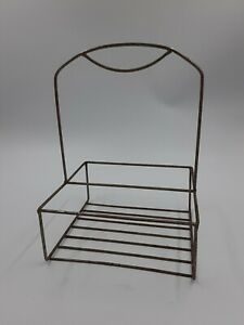 Old-Fashioned-Metal-Steel-Wire-Frame-Jug-Container-Carrier-Rack-Vintage-Patina
