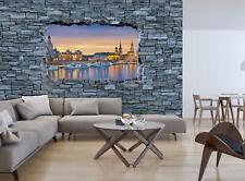 Steinmauer  Tapete XXL Vliestapete VLIES FOTOTAPETE 3D Leuchtturm mit Pier