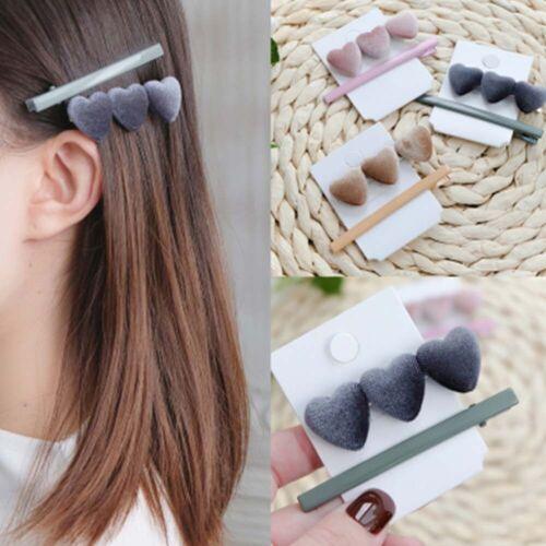 2Pcs//Set Fashion Velvet Women Hairpin Korea Heart Shape Hair Clip Barrette~