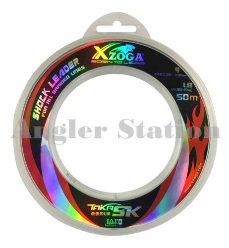 Xzoga Taka SK 60lb//50m Shock Leader Fishing Nylon Line Clear