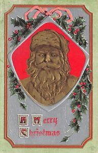 Christmas-Gold-Airbrushed-Santa-Face-Portrait-Silver-Back-Hollly-Emboss-P-Sander
